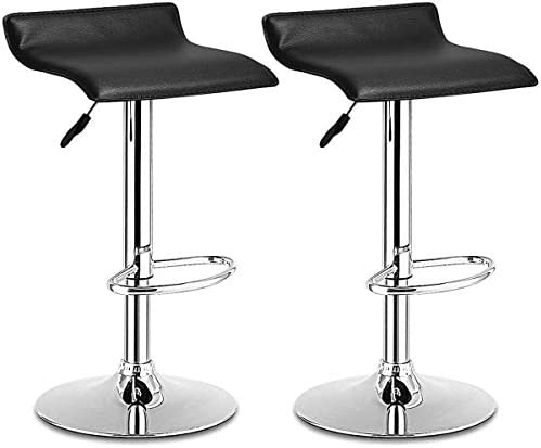 Casart Swivel Bar Stools Adjustable Contemporary Modern Design Chrome Hydraulic PU Leather Backless Dining Chairs Set of 2 Black