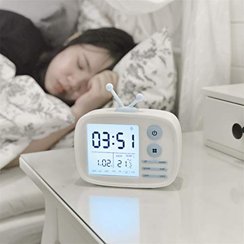 MaxFox Digital LCD Screen Alarm Clock,Retro TV Multi-Function Voice Time with Snooze Good Night Light Sound Alarm for Traveling & Getting Up (White)