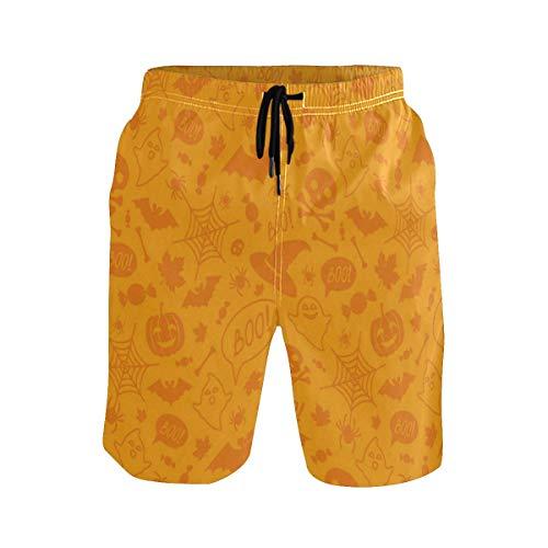 Mens Swim Trunks,Halloween Orange Pumpkins Beach Board Shorts with Pockets Casual Athletic Swimming Short L