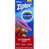 Ziploc Storage Bags with New Grip 'n Seal Technology, For Food, Sandwich, Organization and More, Smart Zipper Plus Seal, Quar
