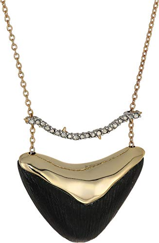 Alexis Bittar Women's Crystal Encrusted Bar and Shield Pendant Necklace Black One Size