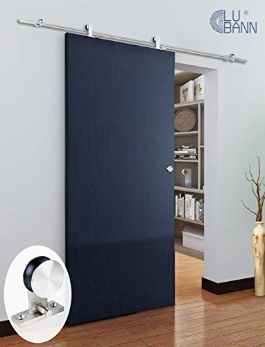 LUBANN 6.6FT Top Mount Sliding Wood Barn Door Hardware Sliding Track Kit Straight Roller ▫ Ultra Quiet ▫ Superior Quality ▫ Tested Beyond 10,000 Rolls (Stainless Steel Classic) by LUBANN