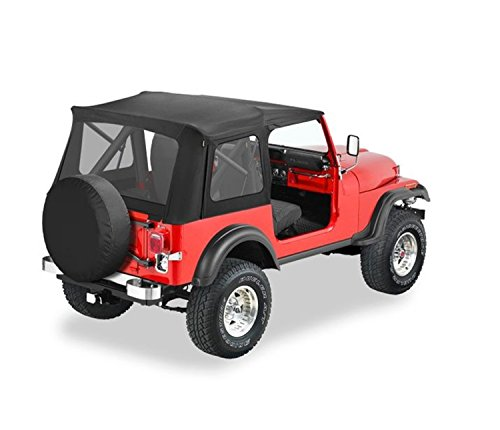 Bestop 51599-01 Black Crush Supertop Classic Replacement Soft Top with Clear Windows; No Doors Included for 1976-1995 Jeep CJ7/Wrangler