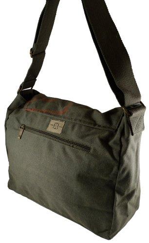 Robin Ruth Canvas Umhängetasche/Überschlagtasche Frankfurt in grün (Maße: LxHxT 34x28x13 cm