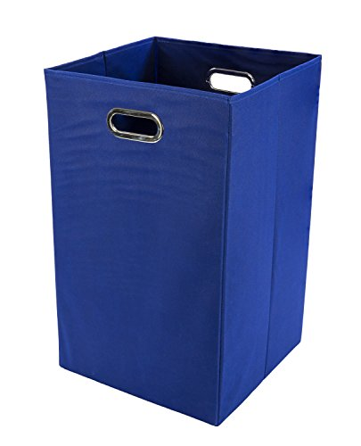 Modern Littles Folding Laundry Basket with Handles – High-Strength Polymer Construction – Folds for Easy Storage and Transportation – 13.75 Inches x 13.75 Inches x 22.75 Inches – Blue (Baby Boy Hamper Gifts)