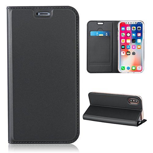 Mpaltor iPhone 9 Plus - Backcase Cover Wallet Style Flip Cover Case For iPhone 9 Plus ONLY (iPhone 9 Plus Cover Dark Grey) ()
