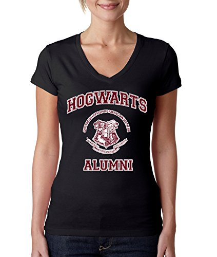 Allntrends Women's V Shirt Hogwarts Alumni (L, Black)