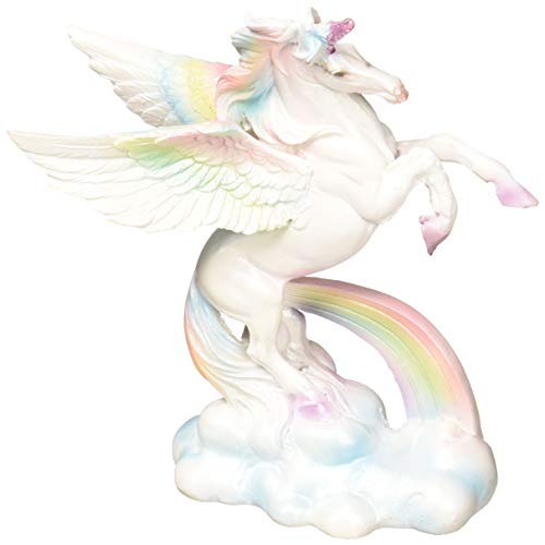 "Unicorn with Pastel Rainbow and Clouds Figurine Collectible 5""H, Assorted Variety"