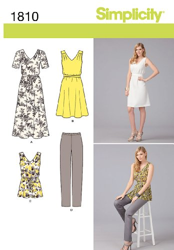 Simplicity Pattern 1810 Misses Pullover Dress, Tunic and Pants Sizes 4-26 ()