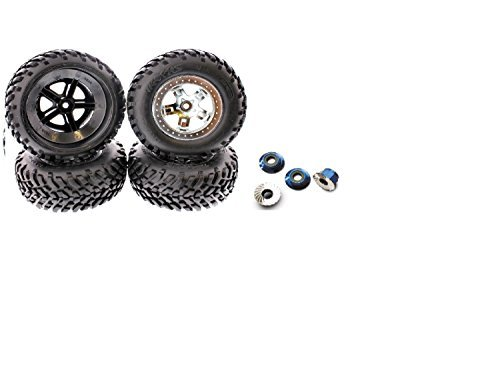 TRAXXAS SLASH WHEELS AND TIRES, THESE TRAXXAS TIRES ARE FOR BEST PERFORMANCE OF YOUR SLASH, COMES WITH 4 BLUE ALUMINUM WHEEL NUTS