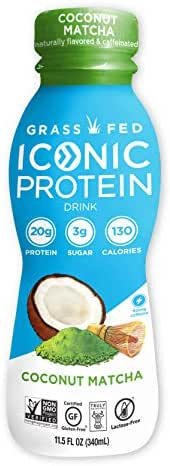 Iconic Grass Fed Protein Drinks, Coconut Matcha (12 Pack)   Low Calorie, High Protein Shakes   Lactose Free, Gluten Free, Non-GMO, Kosher   Low Carb Snack & Healthy Breakfast Drink   Keto Friendly