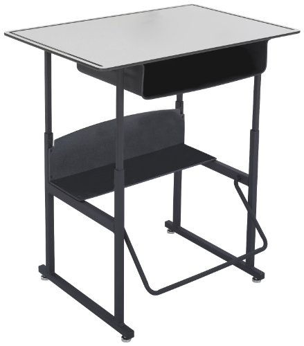 Safco Products 1209GR Alphabetter Stand-Up Desk with Swinging Footrest Bar, 36
