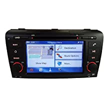 XTTEK 7 inch Touch Screen in dash Car GPS Navigation System for Mazda 3 2004 2005 2006 2007 2008 2009 DVD Player+Bluetooth SWC+Backup Camera+North America Map