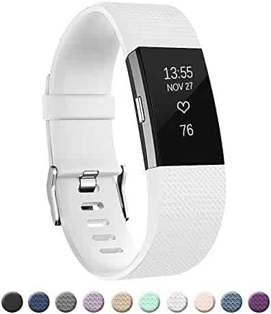 POY Replacement Bands Compatible Fitbit Charge 2, Classic & Special Edition Adjustable Sport Wristbands