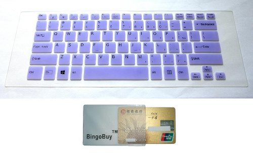 BingoBuy® Semi-Purple Backlit High Quality Silicone Keyboard Protector Skin Cover for SONY VAIO Fit 14, Fit 14E, SVF14, SVF14E, SVF14A, Pro 13 series (if your