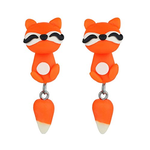 Lanhui Fashion Creative Jewelry Women Handmade Polymer Clay Soft Cute Dinosaur Dog Cat Fox Pottery Earrings Animal Piercing Ear Stud Earring Party Gifts Accessories (Silver Three Cent Piece Good)