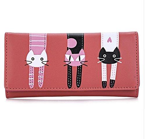 PAAT SHOP Women Cute Cat Cartoon Wallet Long Creative Card Holder Casual Ladies Clutch PU Leather Coin Purse (Watermelon Red) Disco City Cross Body