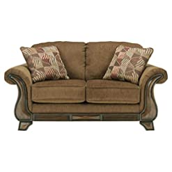 Farmhouse Living Room Furniture Signature Design by Ashley – Montgomery Traditional Loveseat w/ 2 Accent Pillows, Brown farmhouse sofas and couches