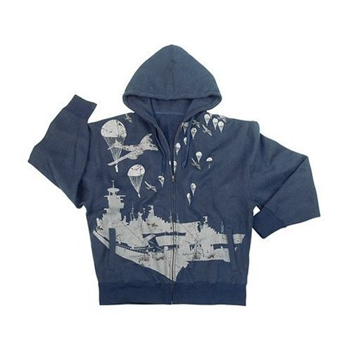 VINTAGE NAVY W/BATTLESHIP LTWT HOODED SWEATSHIRT, 2X-Large by Rothco