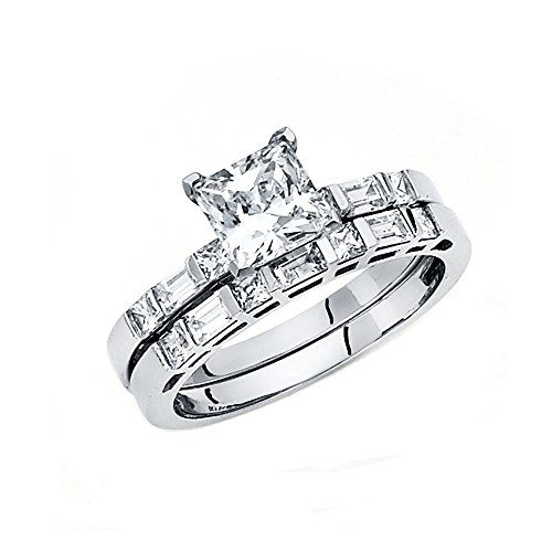 14K White Gold Wedding Set - 2.15mm Women's Engagement Ri...