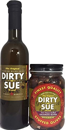 (Dirty Sue 375 mL Olive Juice and 16 Ounce Stuffed Olive or Onion Combo Pack (Feta Cheese Stuffed Kalamata))