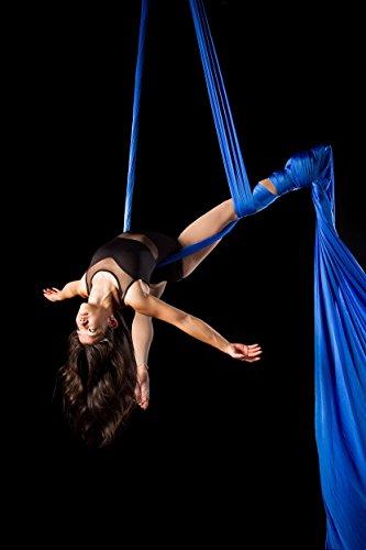 F.Life Pilates Yoga Flying Swing Aerial Yoga Hammock Silk Fabric for Yoga Aerial Silks Standard Kit (10 yards of fabric) (royal blue)
