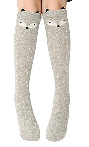 Girls Knee High Sock,Cotton Catroon Animal Bear Cat Fox Over Calf Stockings Gray - Juniors Socks High Knee