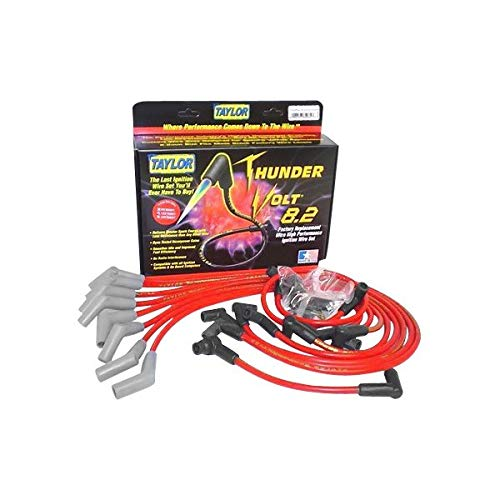 Chevrolet Celebrity Spark Plug - Taylor Cable 84224 ThunderVolt 8.2mm Ignition Wire Set Red Stock 11.75 in. 180 Deg. Plug Boot ThunderVolt 8.2mm Ignition Wire Set