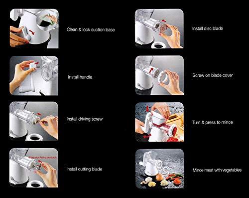 Manual Meat Mincer Grinder & Vegetable Shredder, Biscuit Machine Cookie Maker (White) by Konstar (Image #3)'