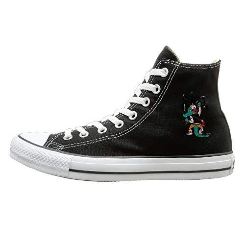 Shenigon Cartoon Crocodile Canvas Shoes High Top Design Black Sneakers Unisex Style 43 ()
