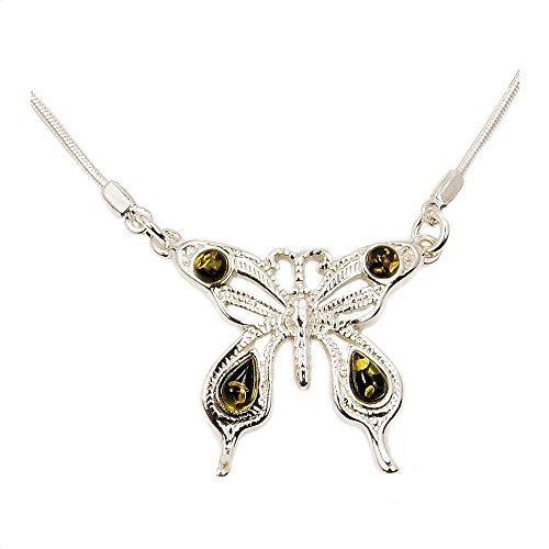 Summer Butterfly' Sterling Silver Natural Green Baltic Amber Necklace