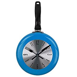 Wall Clock, 8 inch Metal Frying Pan Kitchen Wall Clock Home Decor - Kitchen Themed Unique Wall Clock with a Screwdriver (Blue)