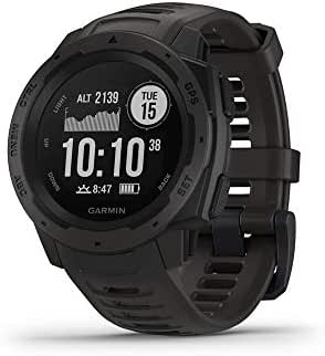 Garmin Instinct, Rugged Outdoor Watch with GPS, Features GLONASS and Galileo, Heart Rate Monitoring and 3-axis Compass, Graphite