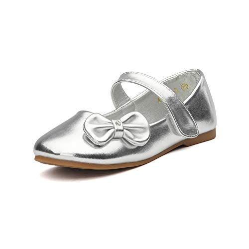 DREAM PAIRS Angel-5 Adorable Mary Jane Side Bow Buckle Strap Ballerina Flat (Toddler/Little Girl) New Silver PU Size 4]()