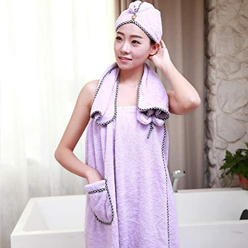 Women Coral Fleece Shower Body Wrap Set Bath Spa Terry Hair Towel Wrap Hair Band