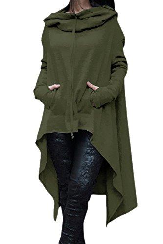 Camiseta De Manga Larga De Las Mujeres Irregulares Hoodie Outwear Tops Armygreen