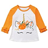 Toddler Kids Baby Girl Unicorn Pumpkin Ruffles Long Sleeve T-Shirt Tops Outfits (1T)