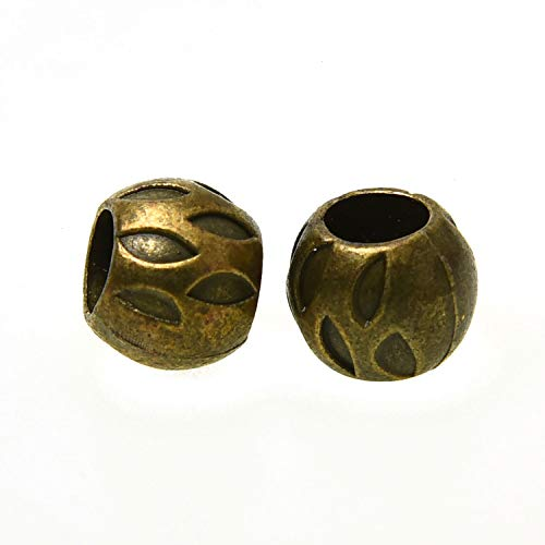 Monrocco 60 Pieces Antique Bronze Jewelry Making Charms Tibetan Style Spacers Beads Alloy Metal Bead Charm for DIY Jewelry Making - Tibetan Bronze