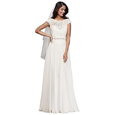 David's Bridal Illusion Lace and Chiffon A-Line Wedding Dress Style WG3851
