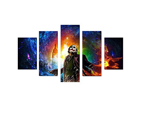 Pangoo Art 5 Piece Frameless Printed Dark Knight Joker Movie Poster Prints Canvas Pictures Paintings on Canvas Wall Art for Home Decor Unframed Poster]()