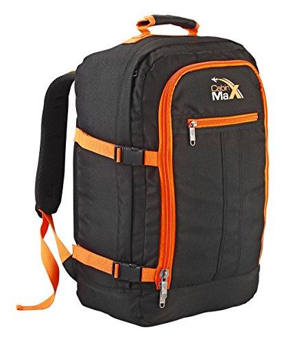 Cabin Max Metz Flugzugelassenes Backpack Groß leichtgewicht Handgepäckstück 55x40x20cm (Schwarz/Orange)