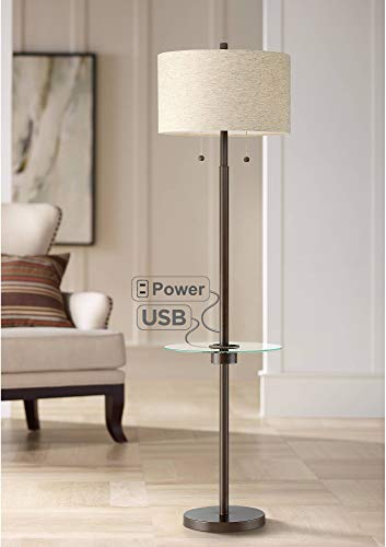 Morrow Modern Floor Lamp with Table USB and AC Power Outlet Oil Rubbed Bronze Drum Shade for Living Room Reading Bedroom Office - Possini Euro Design (Floor Table Lamp Tray)