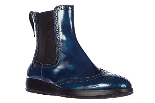 Hogan Damen Leder Stiefeletten Stiefel Ankle Boots bucature blu