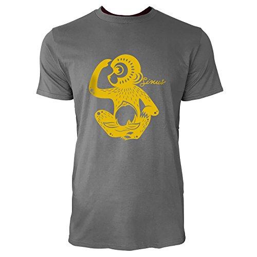 SINUS ART® Roter Scherenschnitt mit sitzendem Affen Herren T-Shirts in Grau Charocoal Fun Shirt mit tollen Aufdruck
