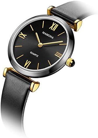 MAMONA Ladies Quartz Watch & Bracelet Set Waterproof Genuine Leather Band Watch for Women L3880BKGT