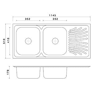 Jayna DBSD 03 Signature Mercury Double Bowl Kitchen Sink with Single Drain Board (16 x 14 x 7 inch,Glossy)