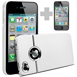 Shelfone Stylish Chrome Series Harcase Cover Fits iPhone 4 & 4S including Screen Protector and Cloth White