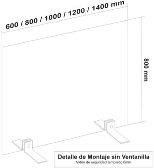 Mampara de protección cristal templado 6mm. L1004.SIN VENTANILLA/para mostradores de farmacias, oficinas, bares, hoteles etc. 80 x 140cm.: Amazon.es: Oficina y papelería