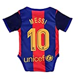 Barcelona Home #10 Messi Baby Cotton Soccer Bodysuits Infant OneSize Red