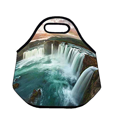 Waterfall Lightweight Neoprene Lunch Bag,Photo of Majestic Iceland Waterfall Flowing Down the River Northern Magical Nature Decorative for Kids Nurse Teacher Outdoor,Throw(11.8''L x 6.3''W x 11''H)
